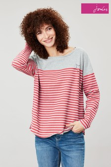 Joules Grey Marina Stripe Dropped Shoulder Top