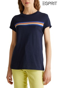 Esprit Blue T-Shirt With Horizontal Rainbow Tape Front