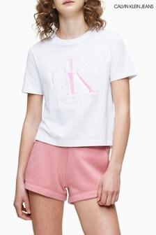 Calvin Klein Jeans T-Shirt mit schillerndem Logo, weiß