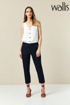 Wallis Navy Cotton Crop Trousers