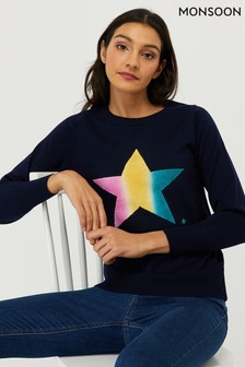 Monsoon Navy Nina Star Jumper