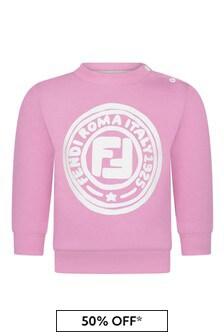 Fendi Kids Baby Girls Pink Cotton Logo Sweater