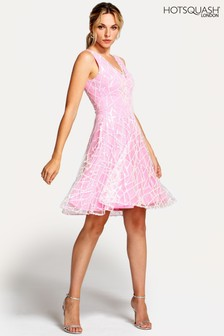 HotSquash Pink V-Neck Embroidered Fit N Flare Dress