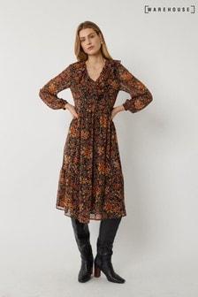 Warehouse Black Winter Bloom Trapeze Dress