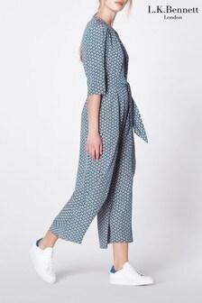 L.K.Bennett Blue Joni Block Print Silk Jumpsuit