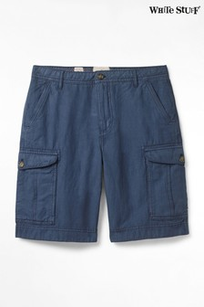 White Stuff Blue Tilbury Linen Mix Cargo Shorts