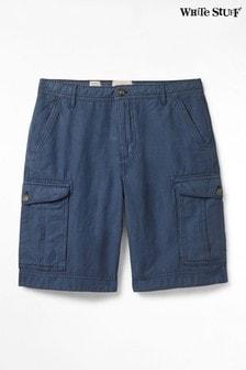 White Stuff Blue Tilbury Linen Mix Cargo Shorts