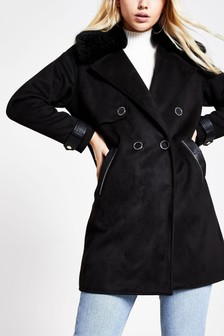 River Island Black Faux Fur Collar Suedette Duster Jacket