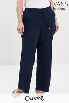 Evans Curve Navy Linen Blend Regular Trousers