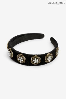Accessorize Black Swirly Pearly Velvet Aliceband