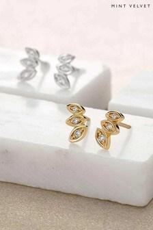 Mint Velvet Gold Tone Sparkle Petal Earrings