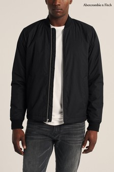 Abercrombie & Fitch Black Ribbed Bomber Jacket