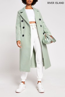 River Island Green Light Drop Shoulder Coat
