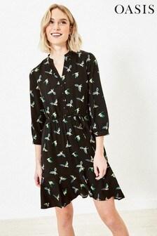 Oasis Black Bird Print Shirt Dress