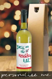 Personalised Naughty List White Wine by Signature PG