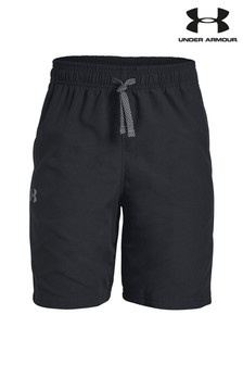 Under Armour Boys Black Woven Graphic Shorts