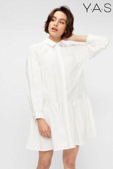Y.A.S White Cotton Poplin Scorpio Shirt Dress