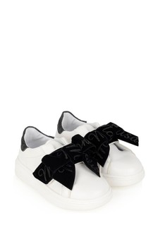 Girls Ivory And Black Bow Trainers