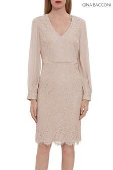 Gina Bacconi Auria Corded Lace Dress With Chiffon Sleeve