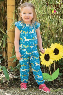 Frugi GOTS Organic Jersey Playsuit In Blue With Unicorn Print