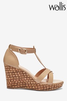 Wallis Whimsey Wide Fit Natural T-Bar Wedge Sandals