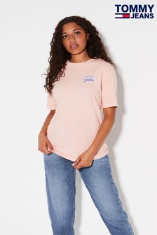 Tommy Jeans Pink Repeat Back Graphic T-Shirt