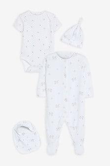 GOTS Organic Bunny Sleepsuit, Short Sleeve Bodysuit, Bib and Hat Set (0-9mths)