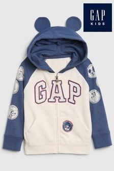 Gap White Mickey Mouse Full Zip Hoody