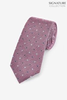 Фактурный шелковый галстук в горошек из именной коллекции