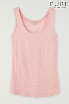 Pure Collection Pink Luxury Linen Jersey Vest