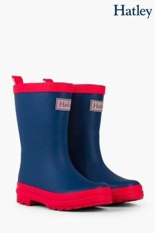 Hatley Navy/Red Rain Matte Boots