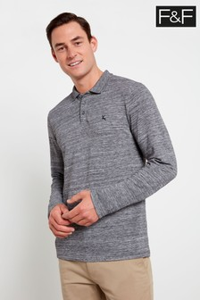 F&F Grey Marl Long Sleeve Textured Polo