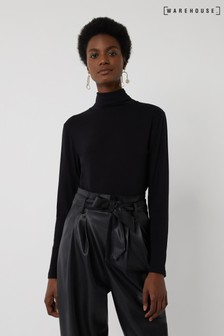 Warehouse Black Long Sleeve Roll Neck Top