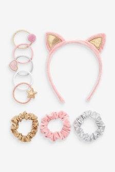 Cat Ear Headband, Patch Ponies & Mixed Fabric Scrunchie Set