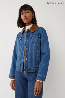Warehouse Blue Teddy Lined Denim Jacket