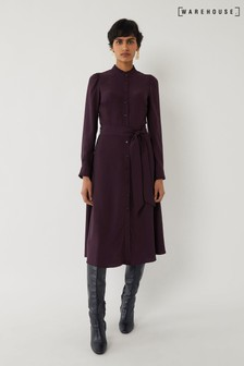 Warehouse Purple Ruffle Neck Midi Shirt Dress