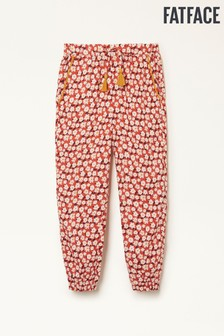 FatFace Washed Red Daisy Print Cuffed Trousers