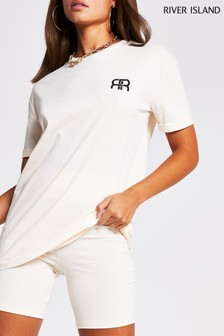 River Island Cream Branded T-Shirt
