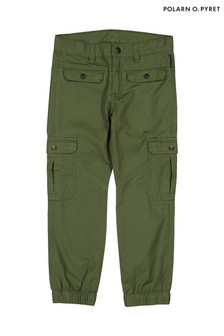 Polarn O. Pyret Green GOTS Organic Woven Trousers