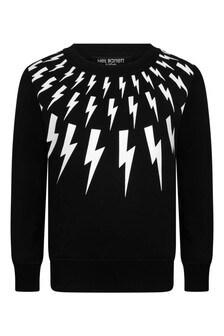 Boys Black Cotton Logo Print Sweatshirt