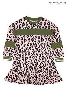 Polarn O. Pyret Pink Organic Cotton Leopard Print Dress