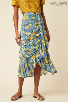 Great Plains Blue Sorrento Lemon Skirt