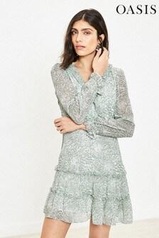 Oasis Green Brushed Animal Ruffle Skater Dress
