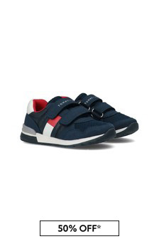 Boys Navy Flag Logo Trainers