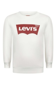 Boys Ivory Cotton Batwing Logo Sweater