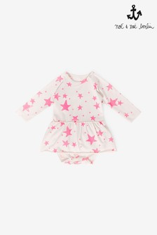 Noé & Zoë Neon Pink Stars Body Vest With Skirt