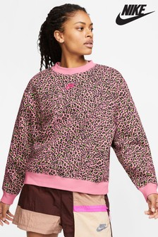 Nike Animal Print Fleece Crew Top