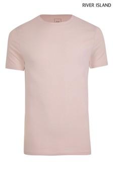 River Island Light Pink Muscle T-Shirt