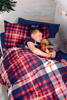Brushed 100% Cotton Rudolph Check Duvet Cover And Pillowcase Set