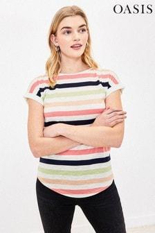 Oasis White Rainbow Stripe T-Shirt